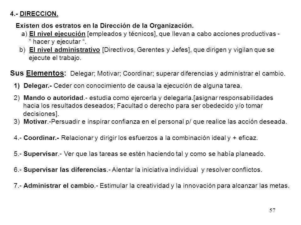 4.- DIRECCION. Existen dos estratos en la Dirección de la Organización.