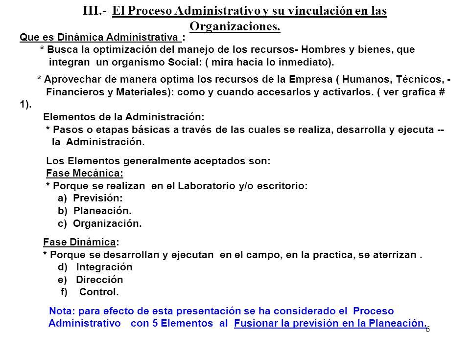 III.- El Proceso Administrativo y su vinculación en las Organizaciones.