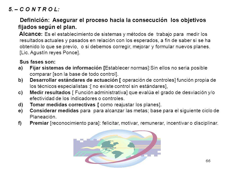 5. – C O N T R O L: Definición: Asegurar el proceso hacia la consecución los objetivos fijados según el plan.