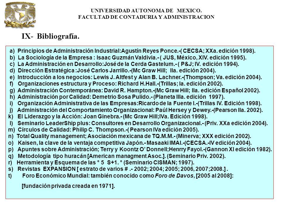 UNIVERSIDAD AUTONOMA DE MEXICO. FACULTAD DE CONTADURIA Y ADMINISTRACION