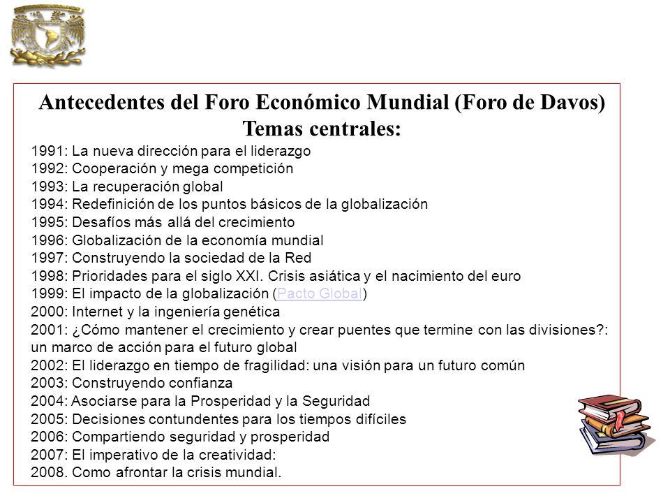 Antecedentes del Foro Económico Mundial (Foro de Davos) Temas centrales: