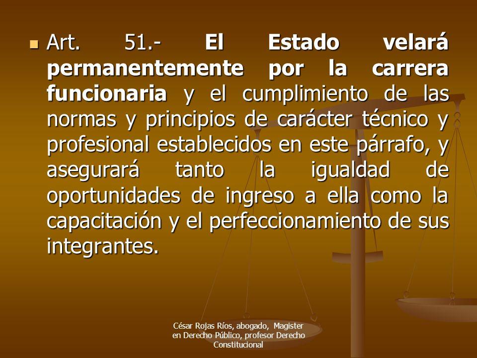 Art. 51.- El Estado velará permanentemente por la carrera funcionaria y el cumplimiento de las normas y principios de carácter técnico y profesional establecidos en este párrafo, y asegurará tanto la igualdad de oportunidades de ingreso a ella como la capacitación y el perfeccionamiento de sus integrantes.