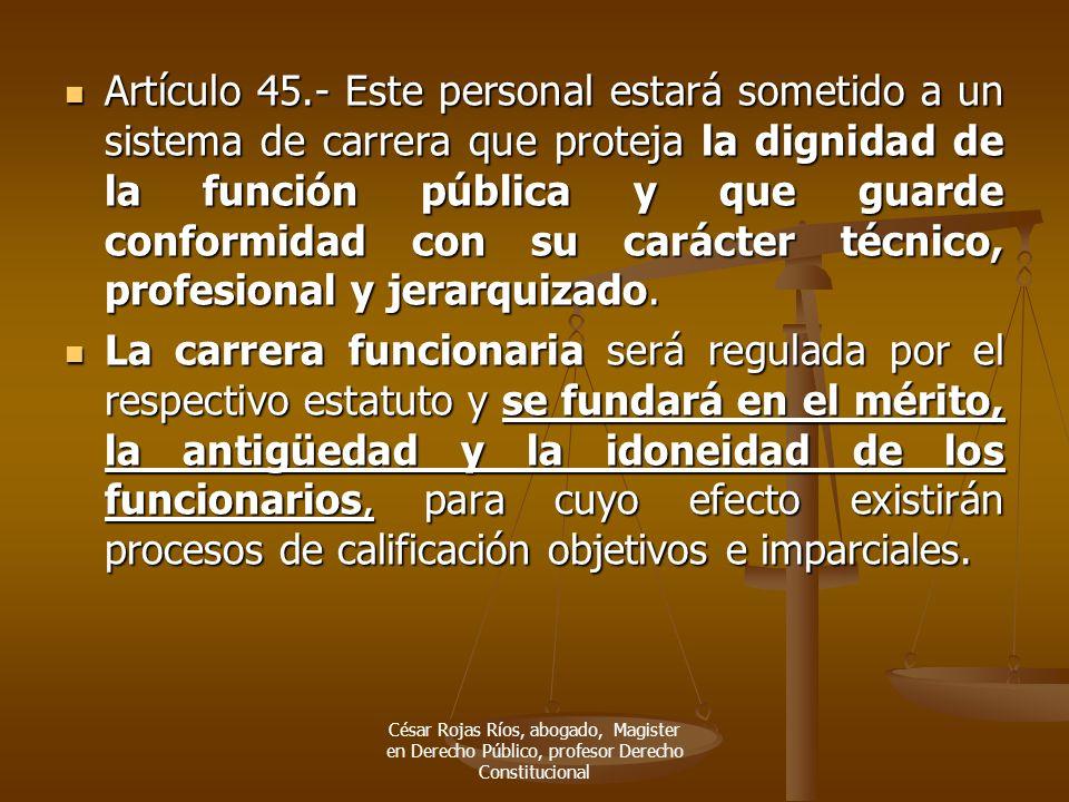 Artículo 45.- Este personal estará sometido a un sistema de carrera que proteja la dignidad de la función pública y que guarde conformidad con su carácter técnico, profesional y jerarquizado.