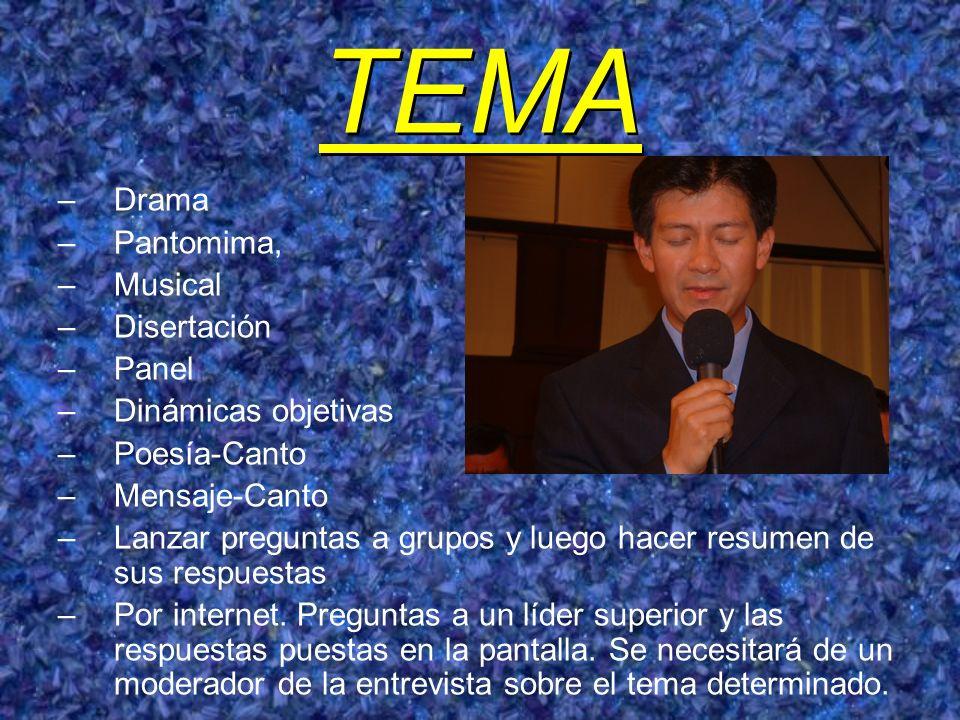 TEMA Drama Pantomima, Musical Disertación Panel Dinámicas objetivas