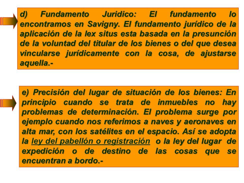 d) Fundamento Juridico: El fundamento lo encontramos en Savigny