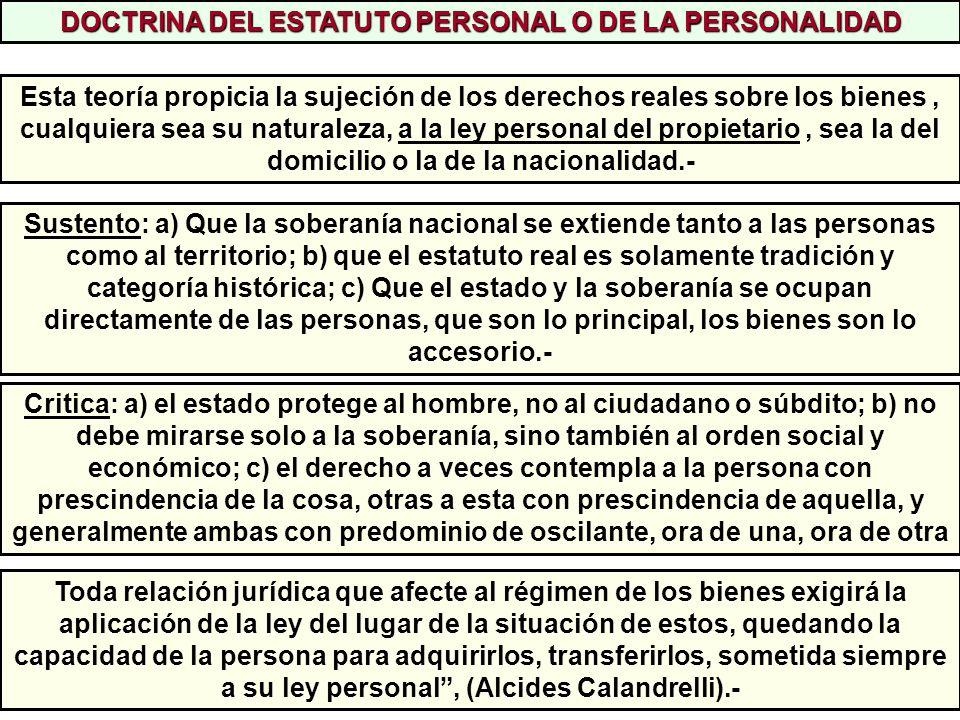 DOCTRINA DEL ESTATUTO PERSONAL O DE LA PERSONALIDAD
