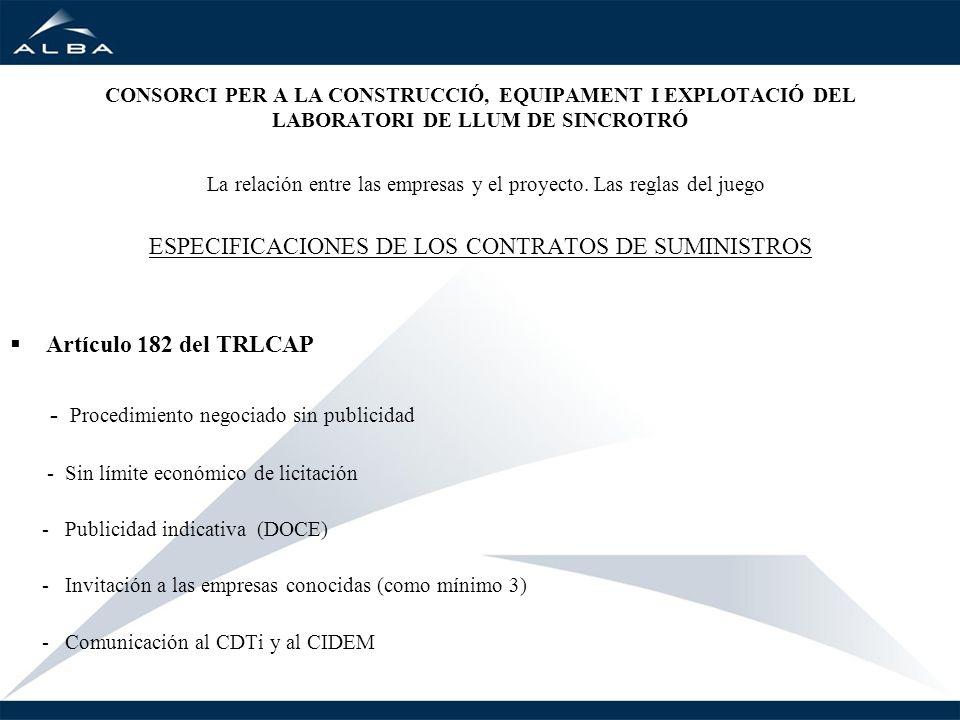 ESPECIFICACIONES DE LOS CONTRATOS DE SUMINISTROS