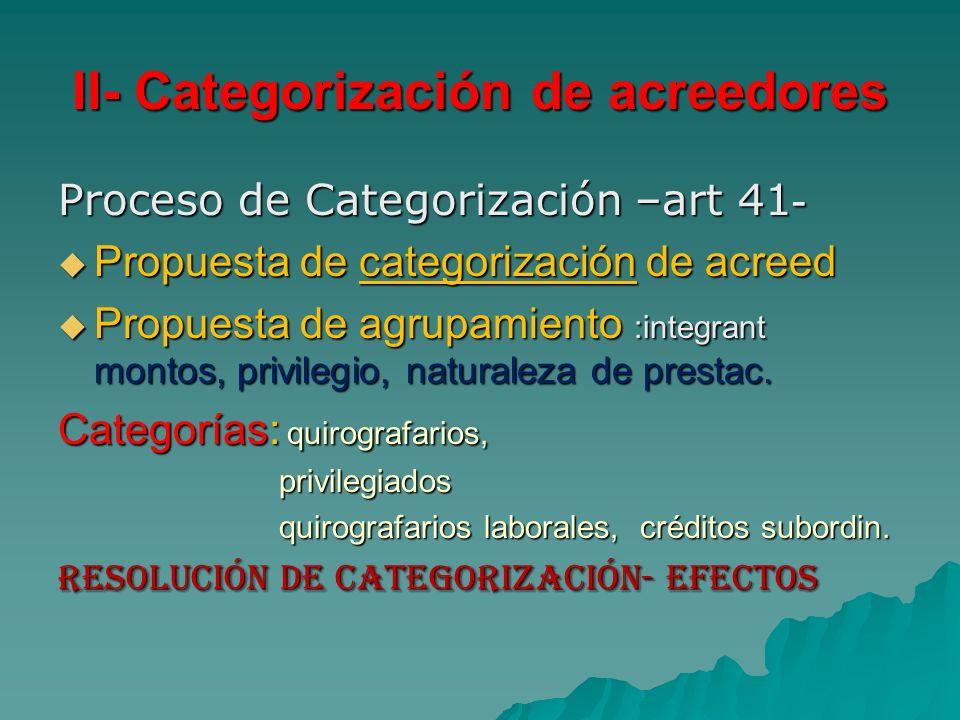 II- Categorización de acreedores