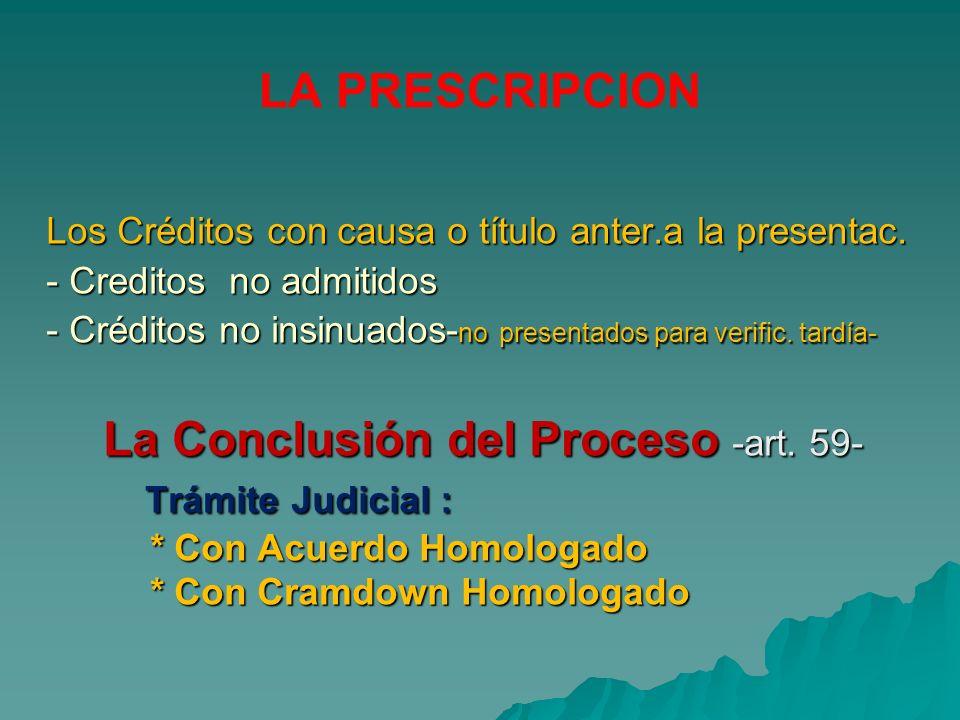 La Conclusión del Proceso -art. 59- Trámite Judicial :