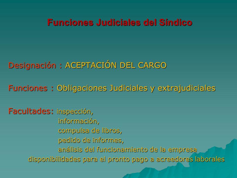 Funciones Judiciales del Síndico