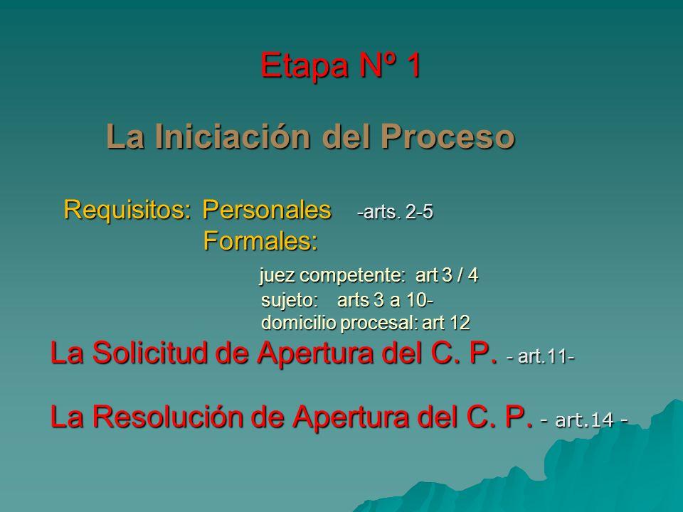 Etapa Nº 1 La Iniciación del Proceso