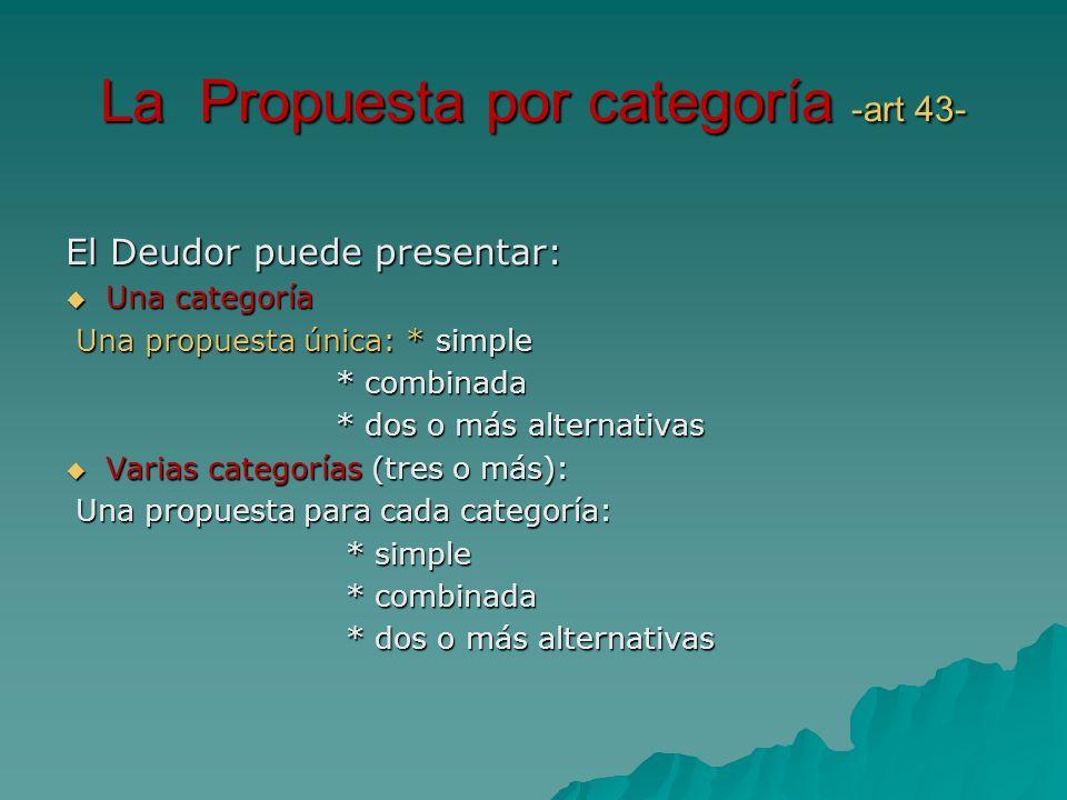 La Propuesta por categoría -art 43-