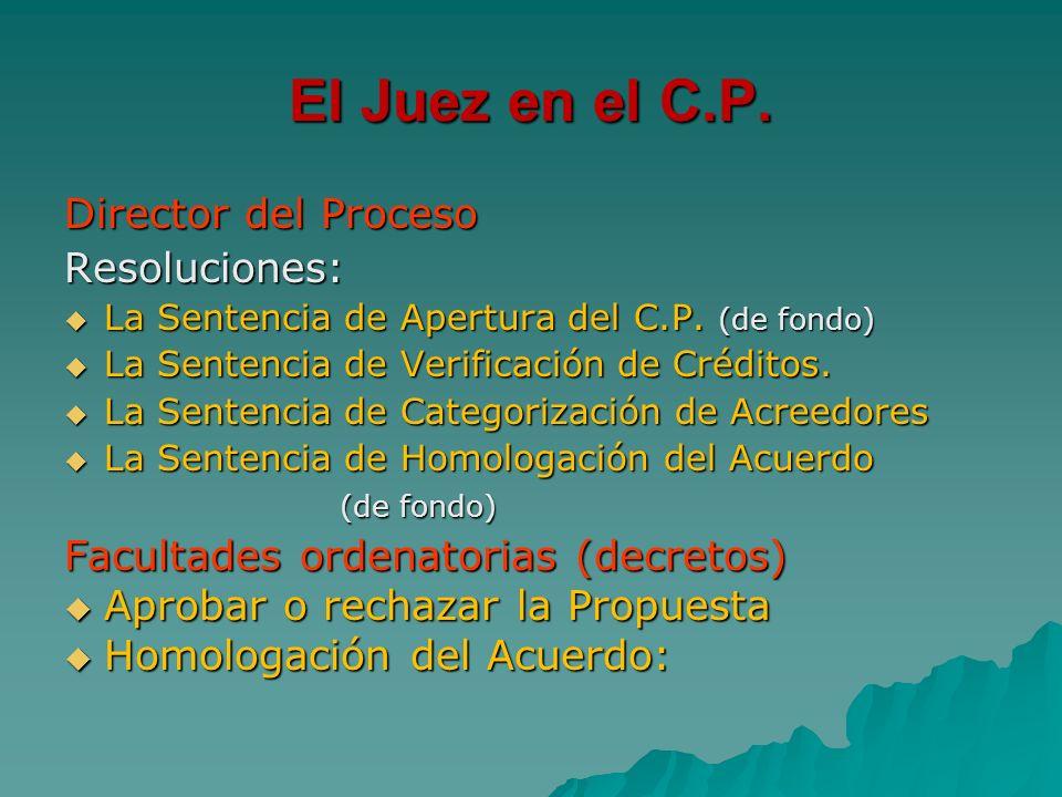 El Juez en el C.P. Director del Proceso Resoluciones:
