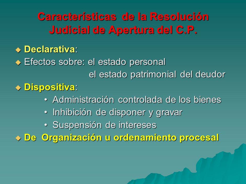 Características de la Resolución Judicial de Apertura del C.P.