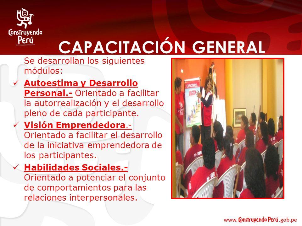 CAPACITACIÓN GENERAL Se desarrollan los siguientes módulos: