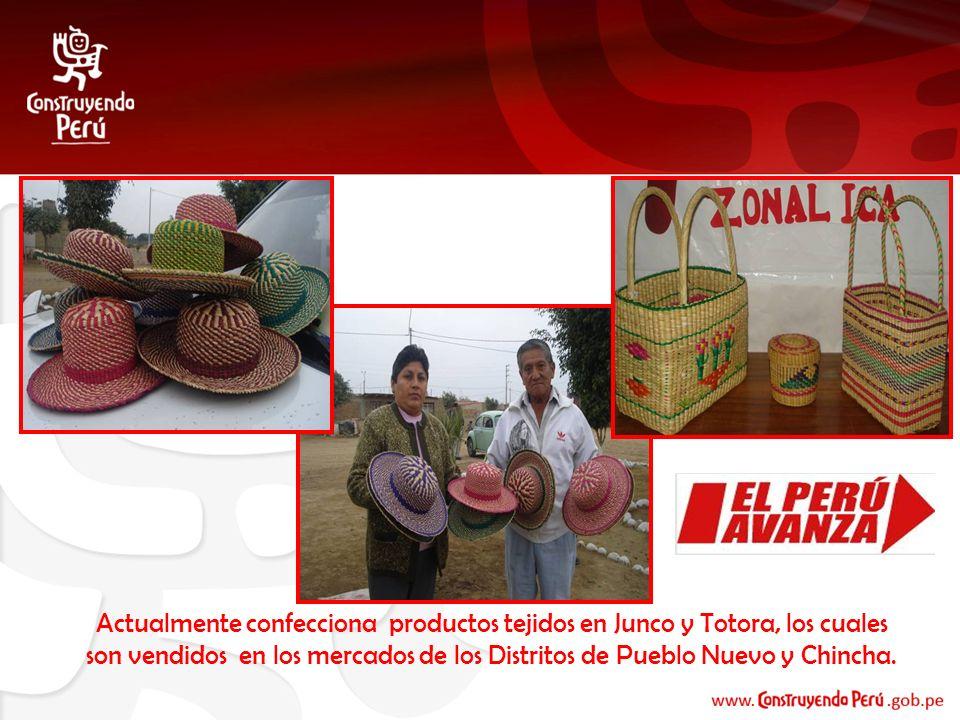 Actualmente confecciona productos tejidos en Junco y Totora, los cuales son vendidos en los mercados de los Distritos de Pueblo Nuevo y Chincha.
