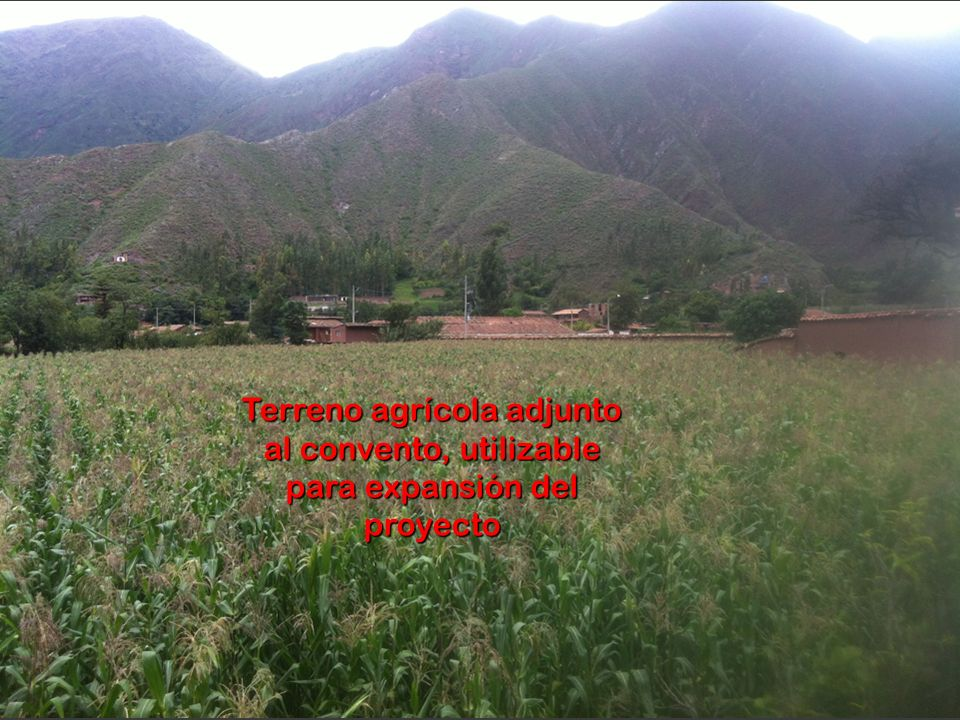 Terreno agrícola adjunto al convento, utilizable para expansión del proyecto
