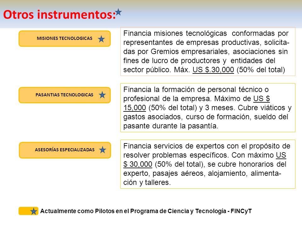 MISIONES TECNOLOGICAS PASANTIAS TECNOLOGICAS ASESORÍAS ESPECIALIZADAS