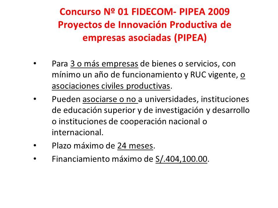Concurso Nº 01 FIDECOM- PIPEA 2009 Proyectos de Innovación Productiva de empresas asociadas (PIPEA)