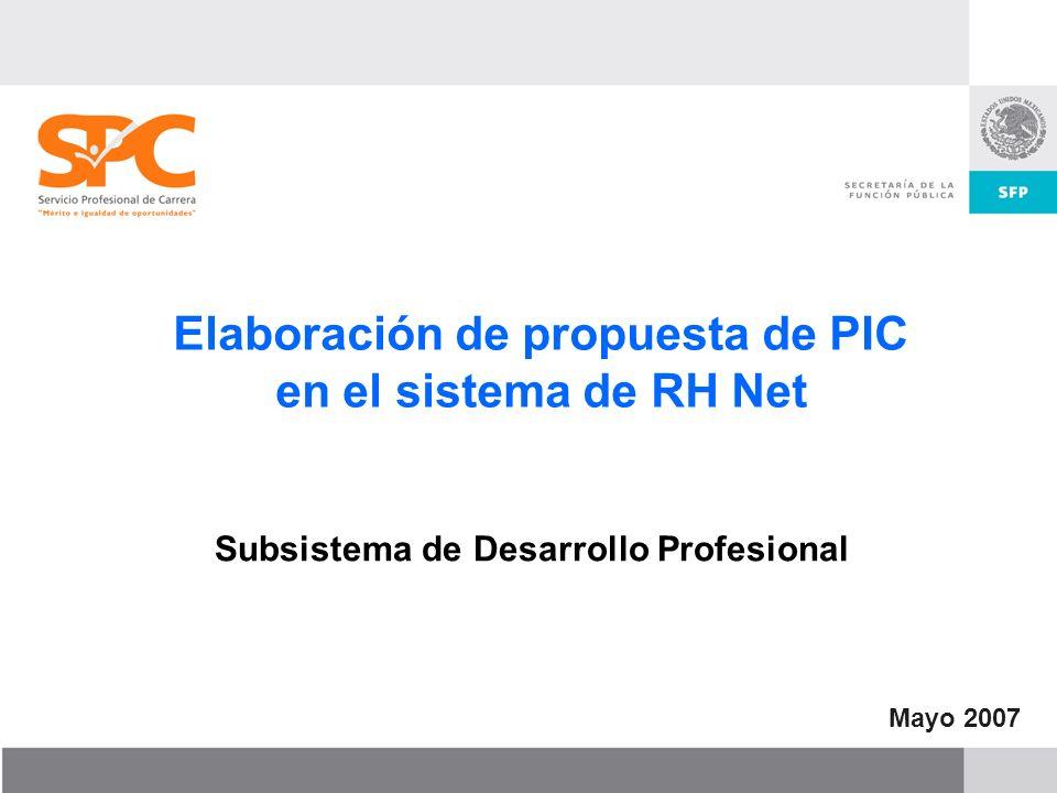 Elaboración de propuesta de PIC en el sistema de RH Net