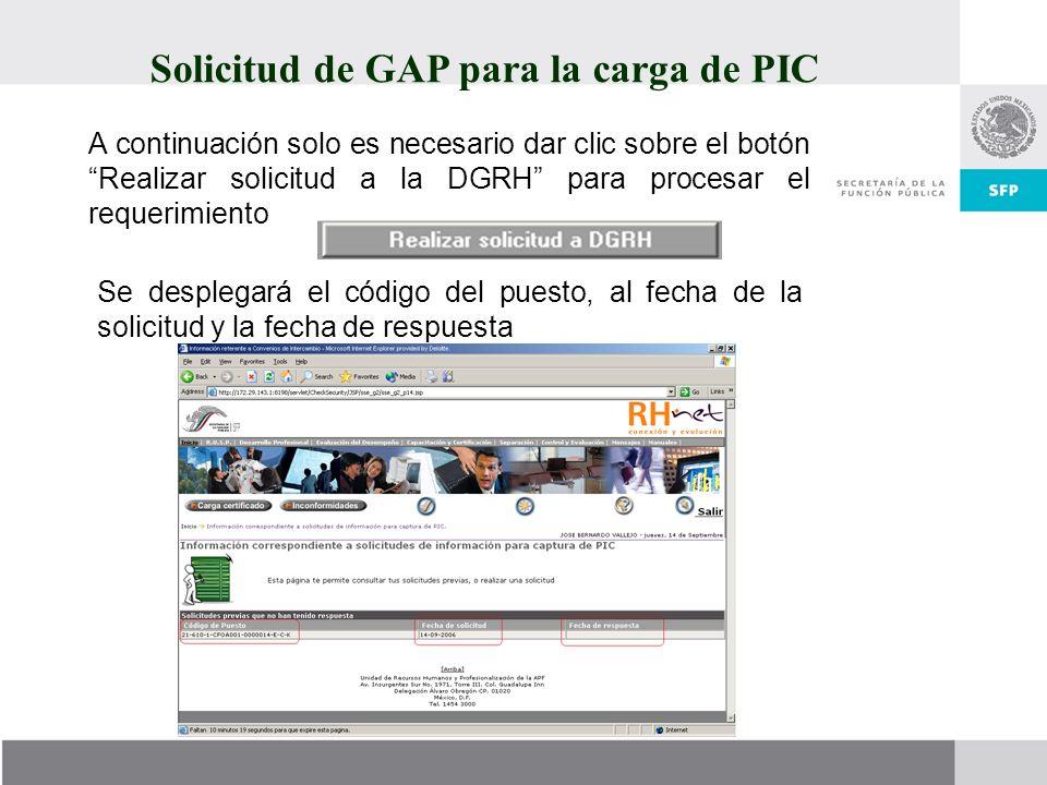 Solicitud de GAP para la carga de PIC