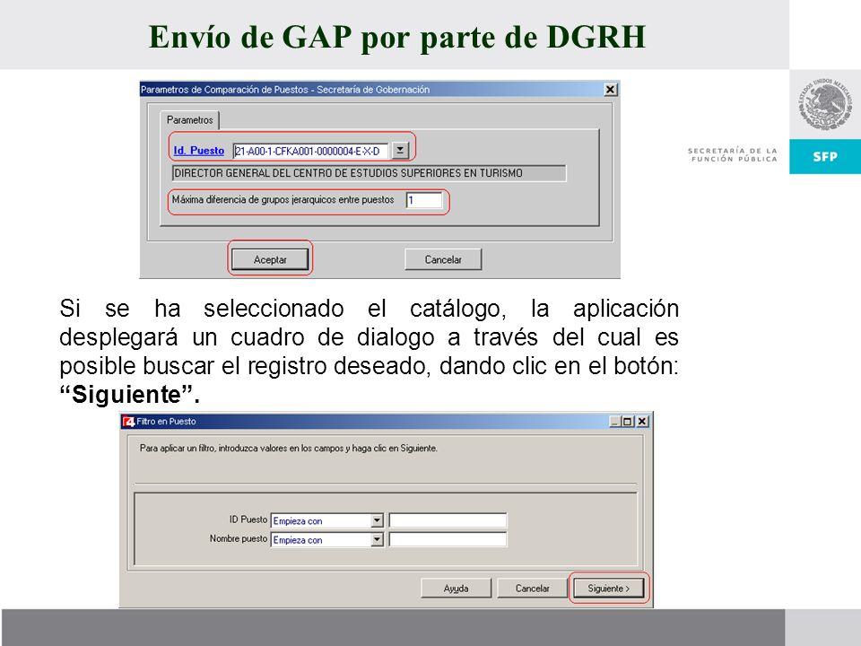 Envío de GAP por parte de DGRH
