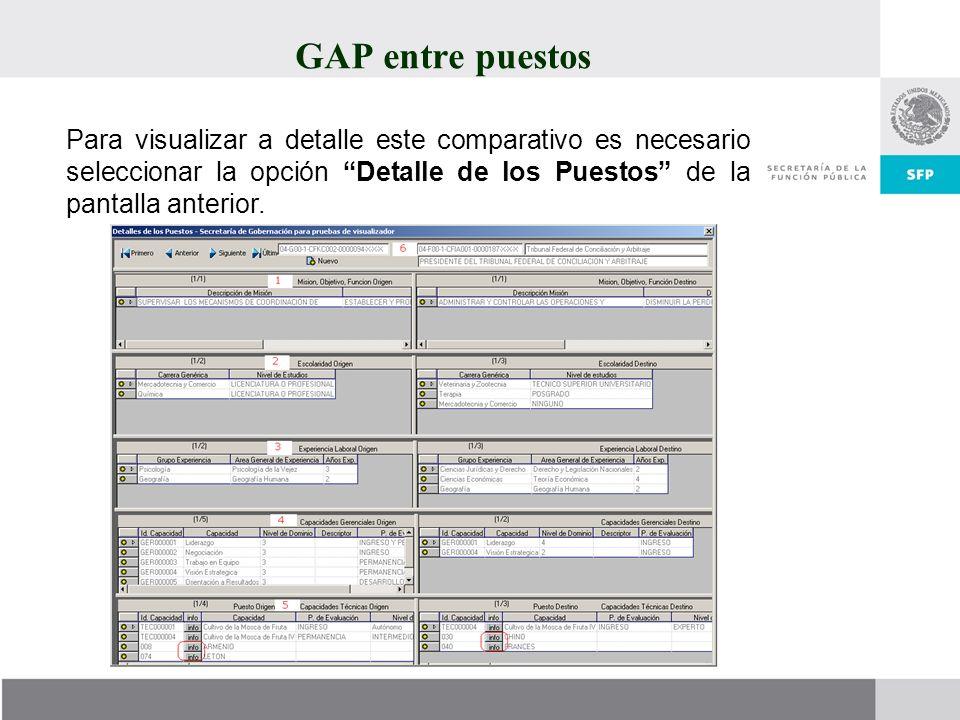 GAP entre puestos Para visualizar a detalle este comparativo es necesario seleccionar la opción Detalle de los Puestos de la pantalla anterior.