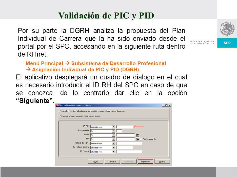 Validación de PIC y PID