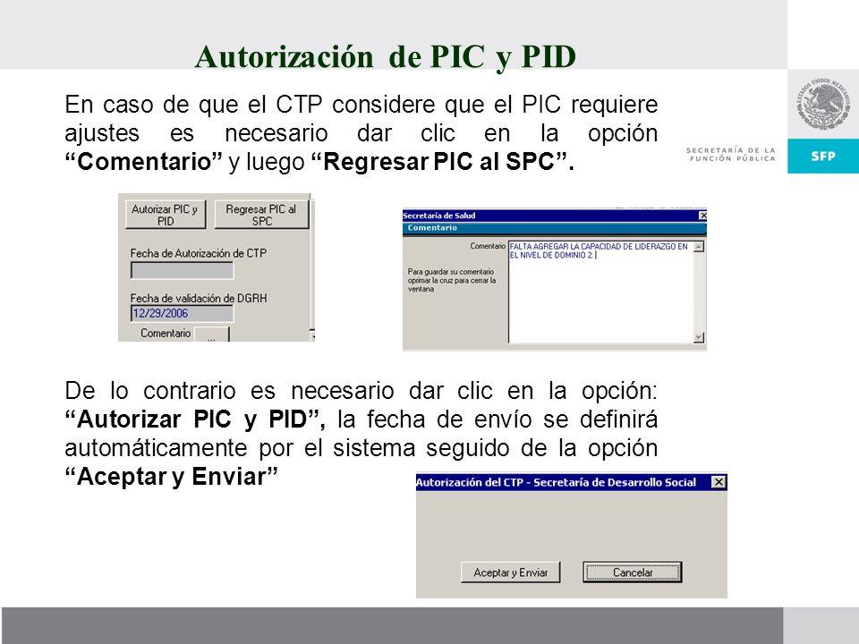 Autorización de PIC y PID