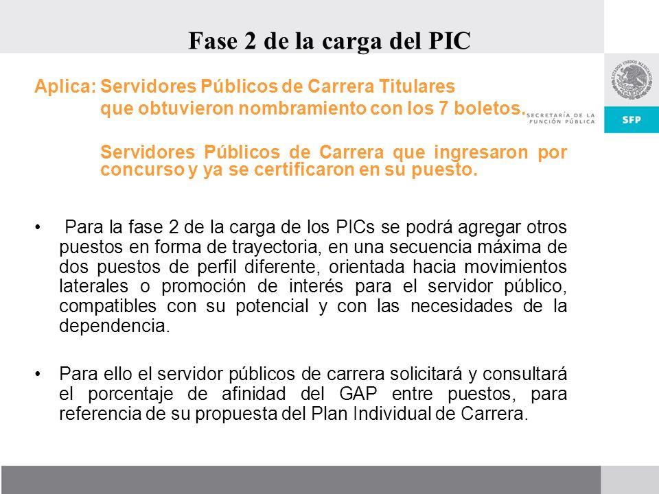 Fase 2 de la carga del PIC Aplica: Servidores Públicos de Carrera Titulares. que obtuvieron nombramiento con los 7 boletos.