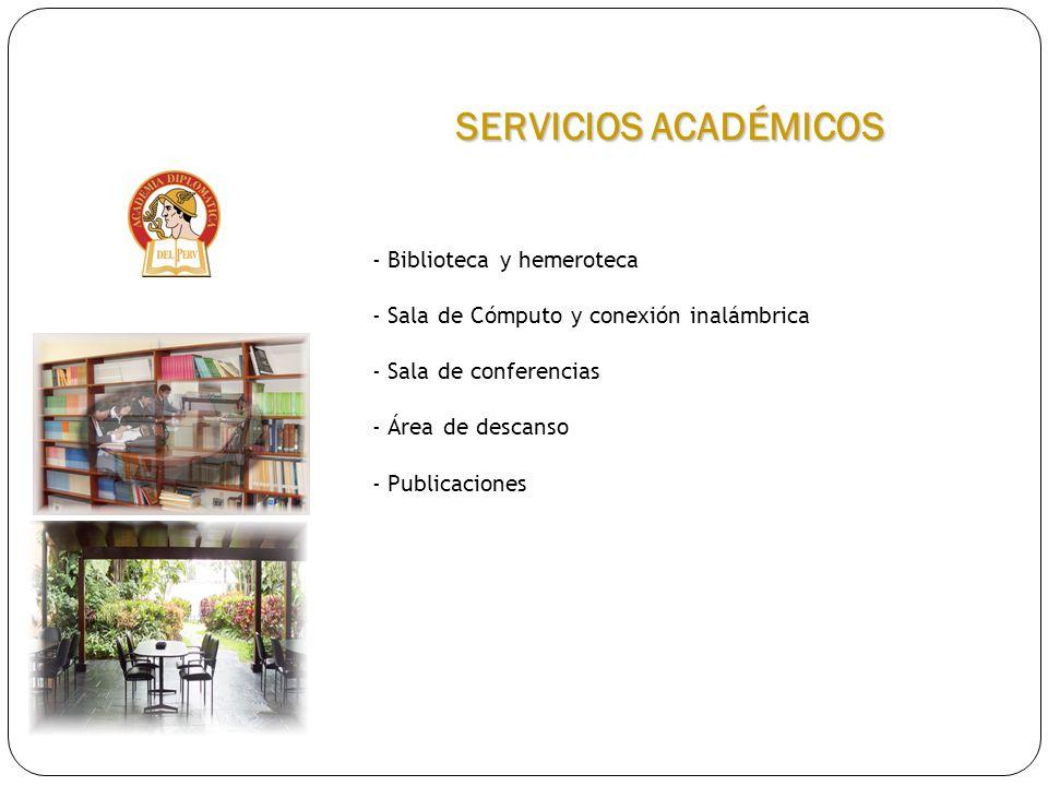 SERVICIOS ACADÉMICOS Biblioteca y hemeroteca