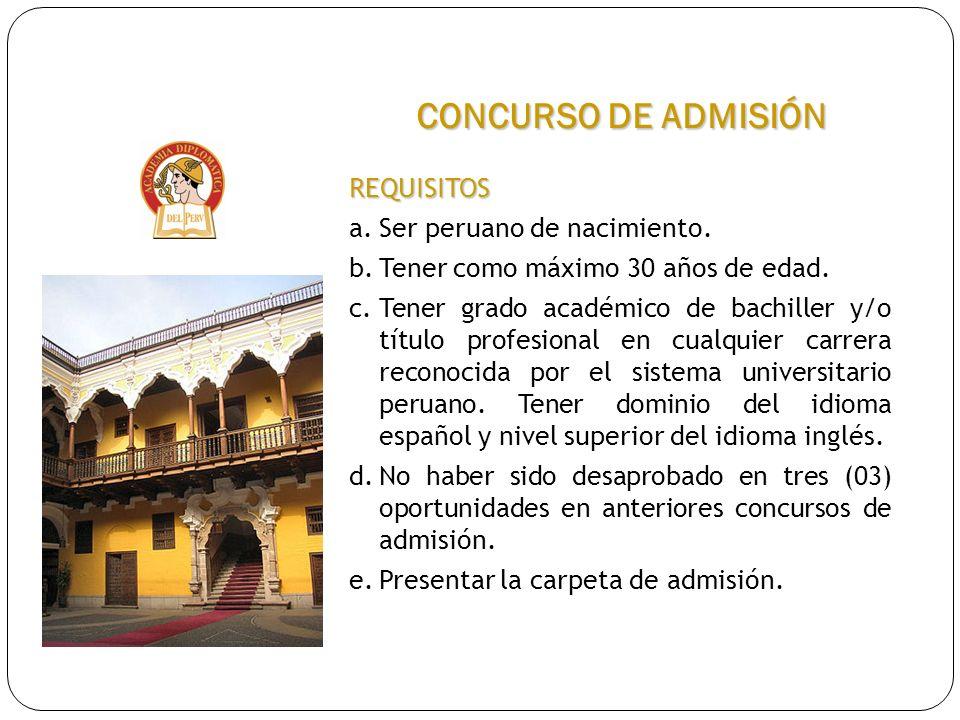 CONCURSO DE ADMISIÓN REQUISITOS a. Ser peruano de nacimiento.