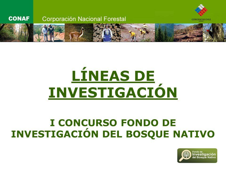 LÍNEAS DE INVESTIGACIÓN I CONCURSO FONDO DE INVESTIGACIÓN DEL BOSQUE NATIVO