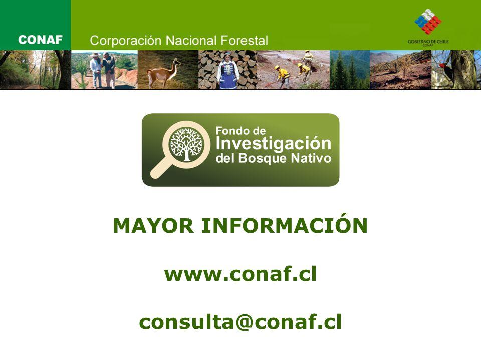 MAYOR INFORMACIÓN www.conaf.cl consulta@conaf.cl