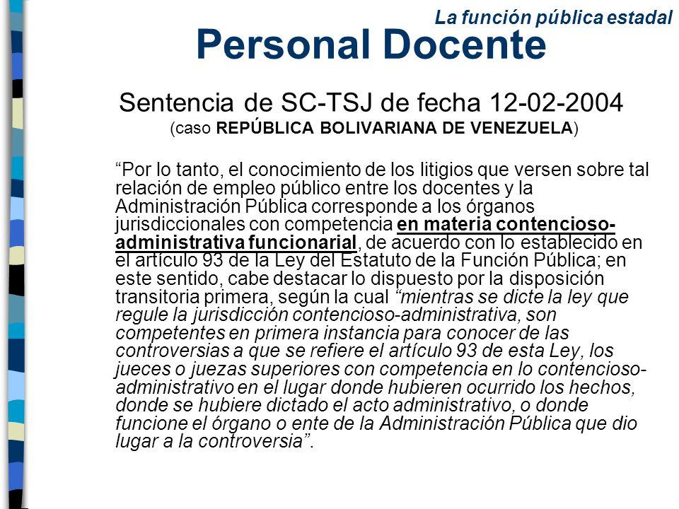Personal Docente Sentencia de SC-TSJ de fecha 12-02-2004