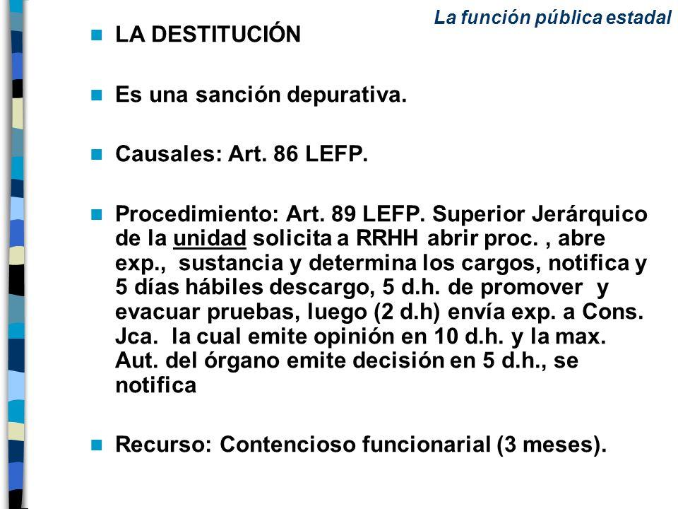 Es una sanción depurativa. Causales: Art. 86 LEFP.