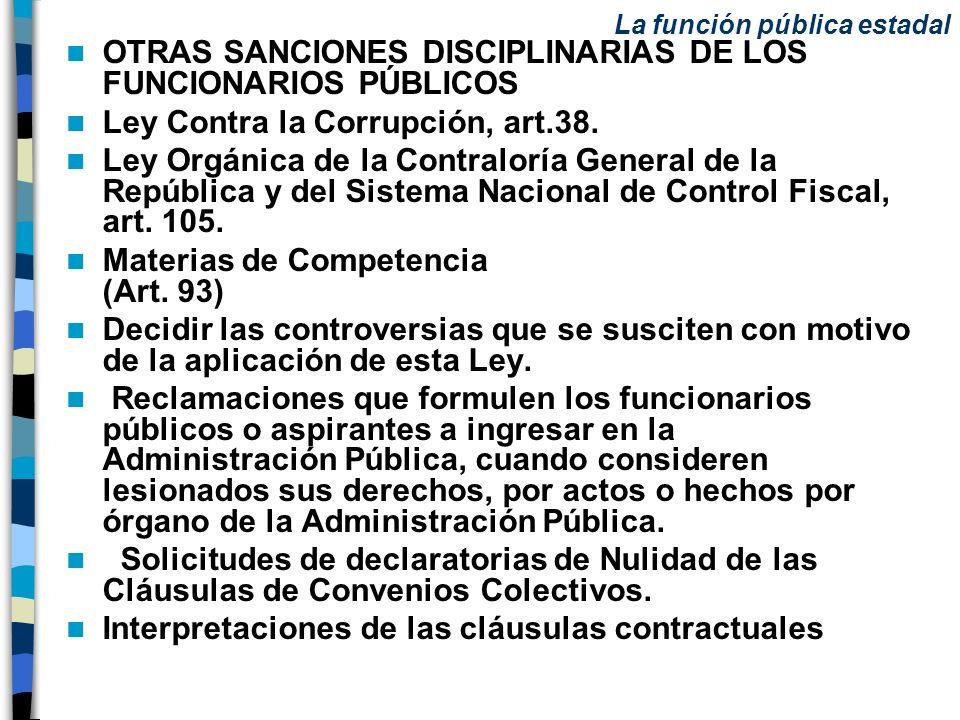 OTRAS SANCIONES DISCIPLINARIAS DE LOS FUNCIONARIOS PÚBLICOS
