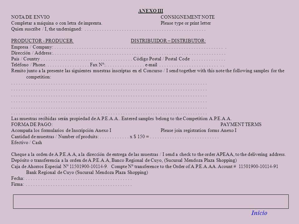 Inicio ANEXO III NOTA DE ENVIO CONSIGNEMENT NOTE