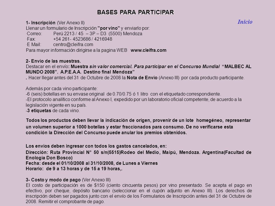 BASES PARA PARTICIPAR Inicio 1- Inscripción (Ver Anexo II)