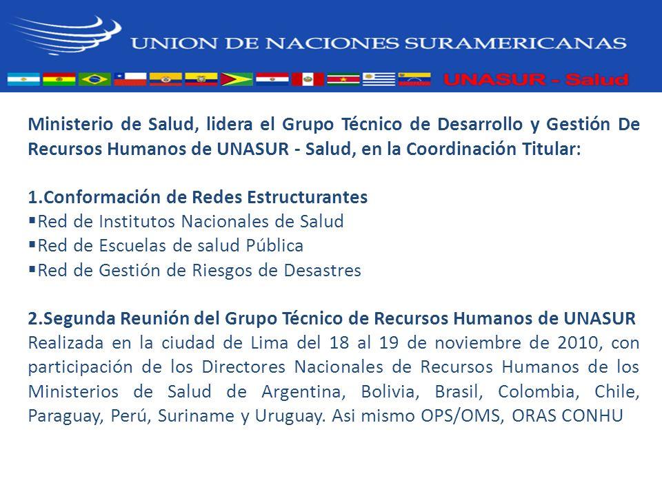 Ministerio de Salud, lidera el Grupo Técnico de Desarrollo y Gestión De Recursos Humanos de UNASUR - Salud, en la Coordinación Titular: