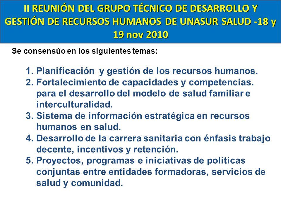 II REUNIÓN DEL GRUPO TÉCNICO DE DESARROLLO Y GESTIÓN DE RECURSOS HUMANOS DE UNASUR SALUD -18 y 19 nov 2010