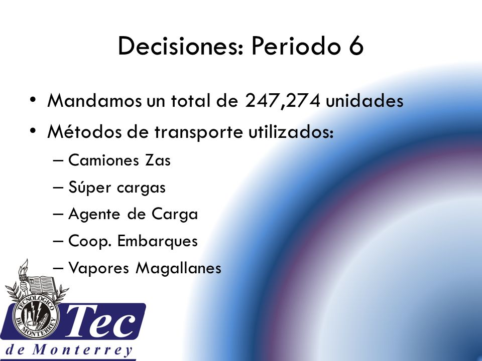 Decisiones: Periodo 6 Mandamos un total de 247,274 unidades
