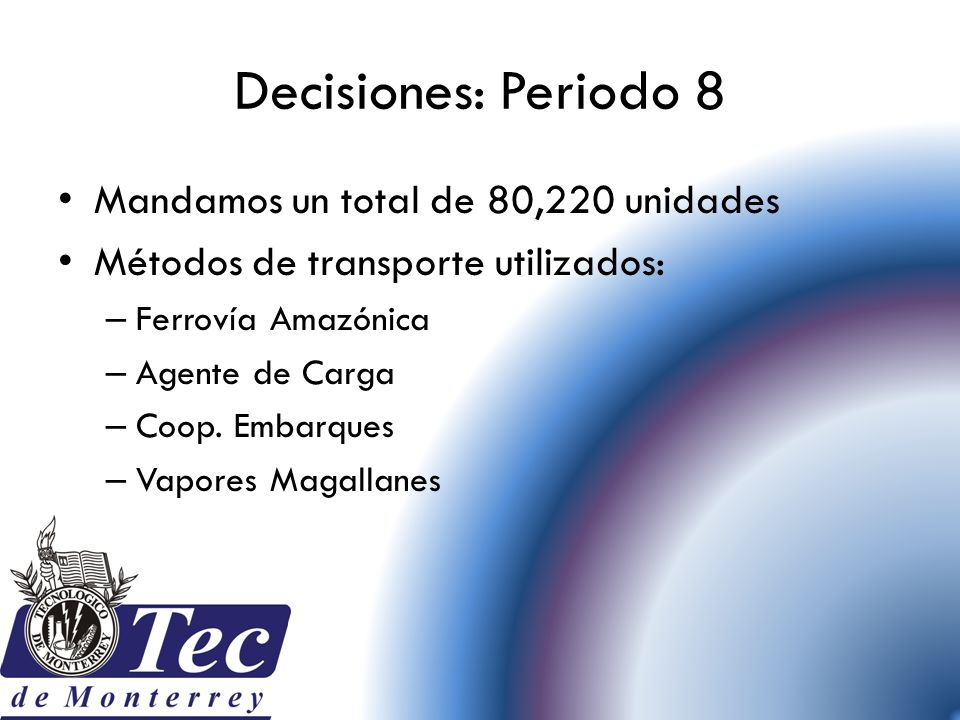 Decisiones: Periodo 8 Mandamos un total de 80,220 unidades