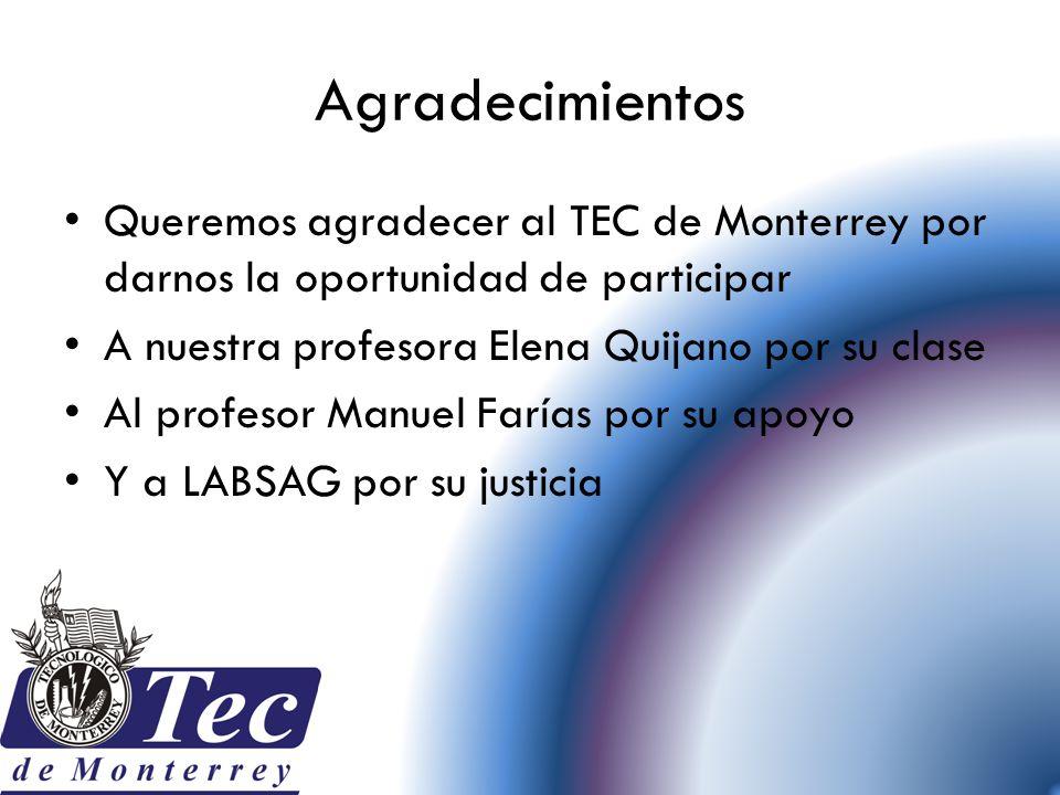 Agradecimientos Queremos agradecer al TEC de Monterrey por darnos la oportunidad de participar. A nuestra profesora Elena Quijano por su clase.