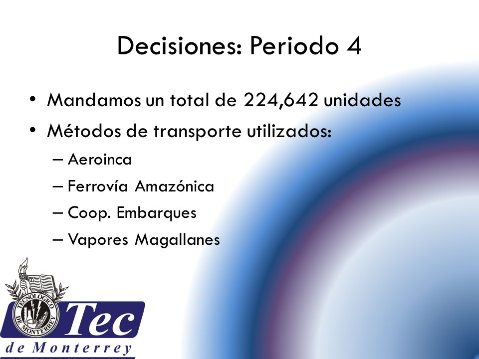 Decisiones: Periodo 4 Mandamos un total de 224,642 unidades