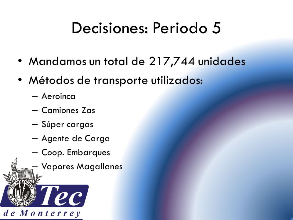Decisiones: Periodo 5 Mandamos un total de 217,744 unidades