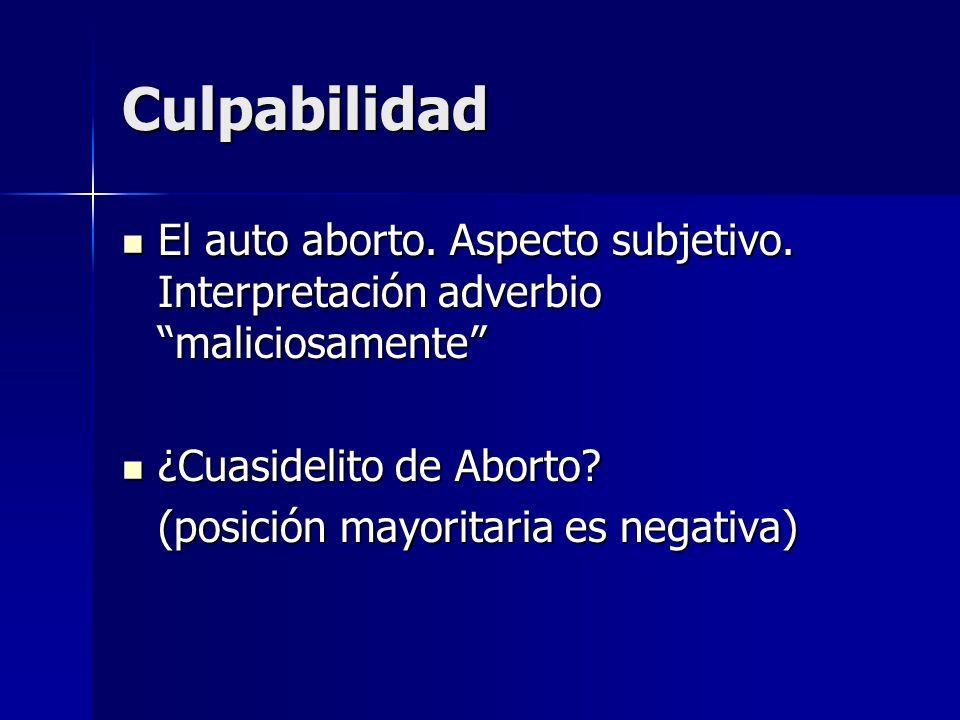 Culpabilidad El auto aborto. Aspecto subjetivo. Interpretación adverbio maliciosamente ¿Cuasidelito de Aborto