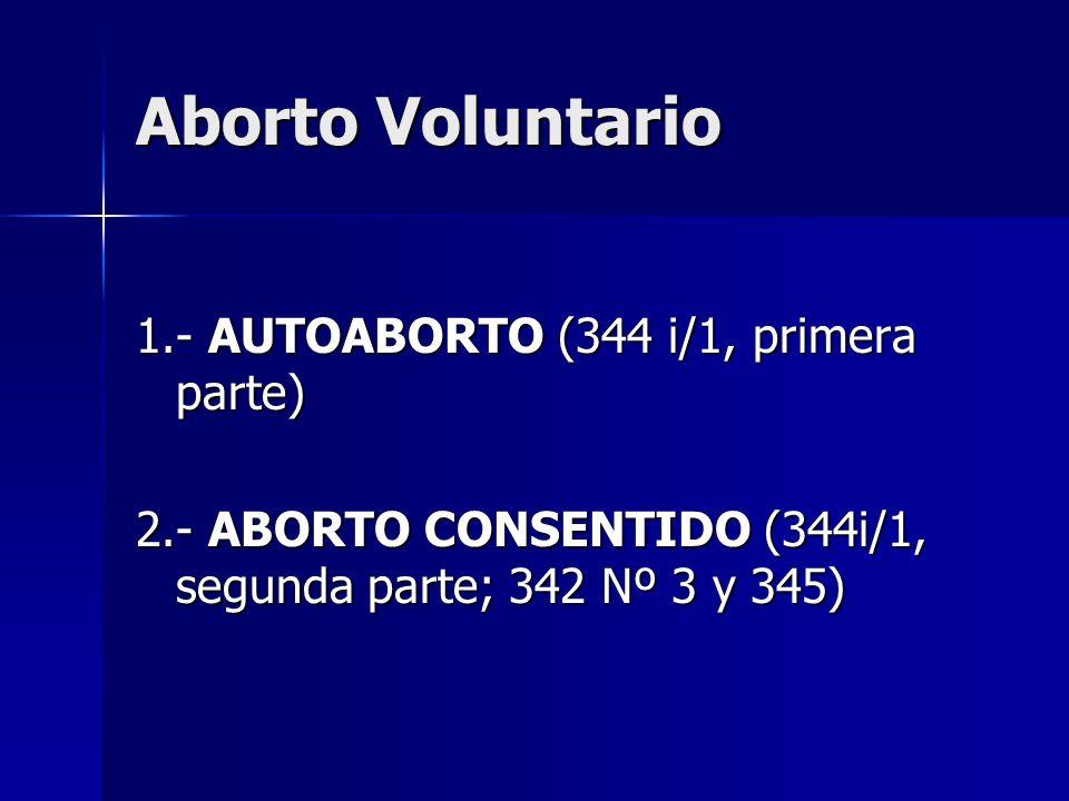 Aborto Voluntario 1.- AUTOABORTO (344 i/1, primera parte)
