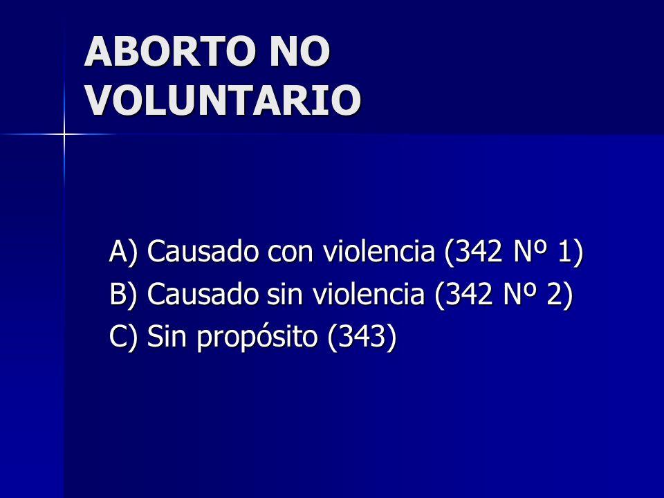 ABORTO NO VOLUNTARIO A) Causado con violencia (342 Nº 1)
