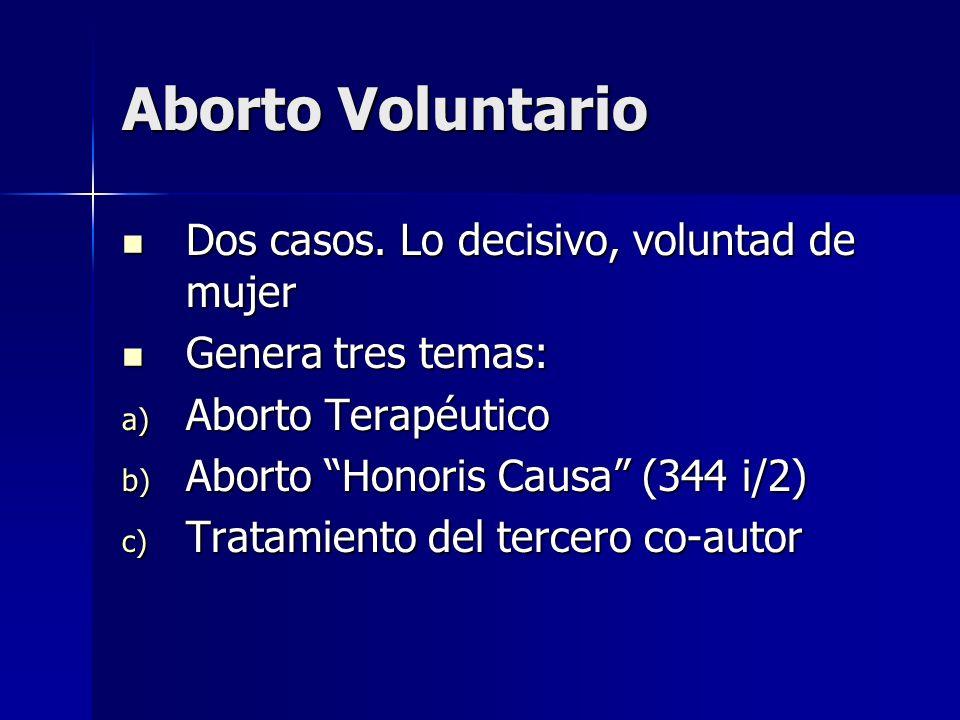 Aborto Voluntario Dos casos. Lo decisivo, voluntad de mujer